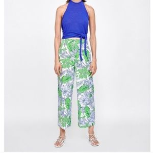 Zara | Green Tropical Floral Wide Leg Culottes